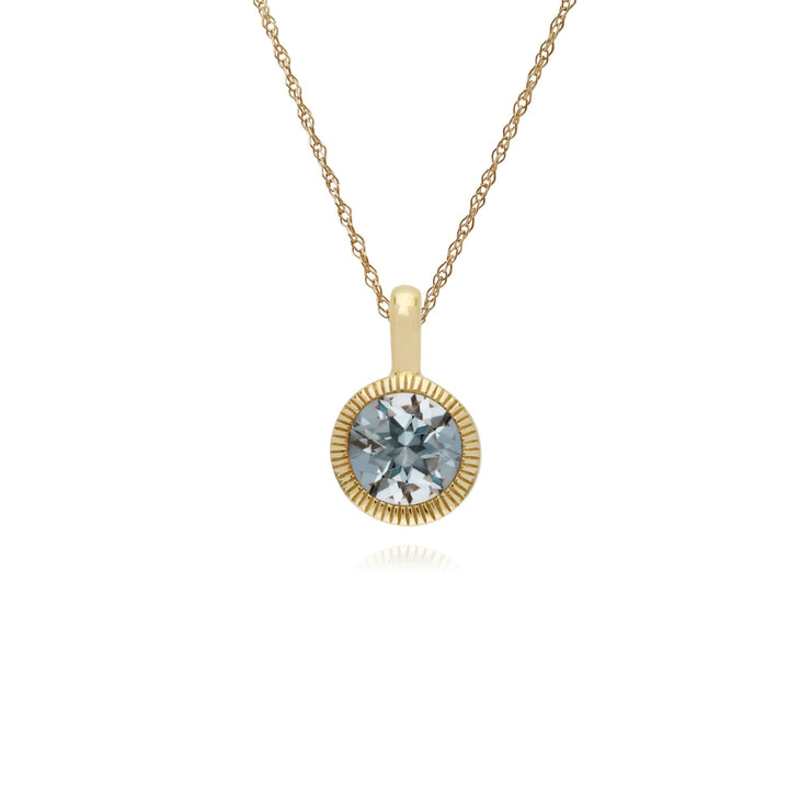 Classic Single Stone Round Aquamarine Milgrain Pendant in 9ct Yellow Gold