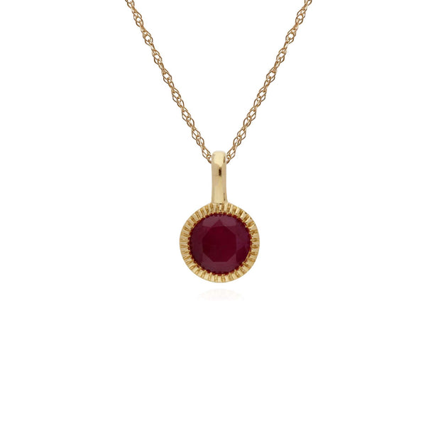 Single Ruby Milgrain Pendant Image 1