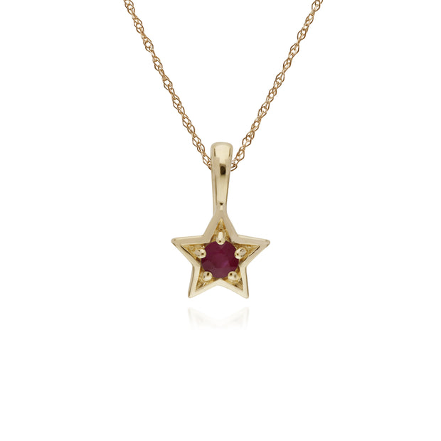 Classic Single Stone Round Ruby Star Pendant in 9ct Yellow Gold
