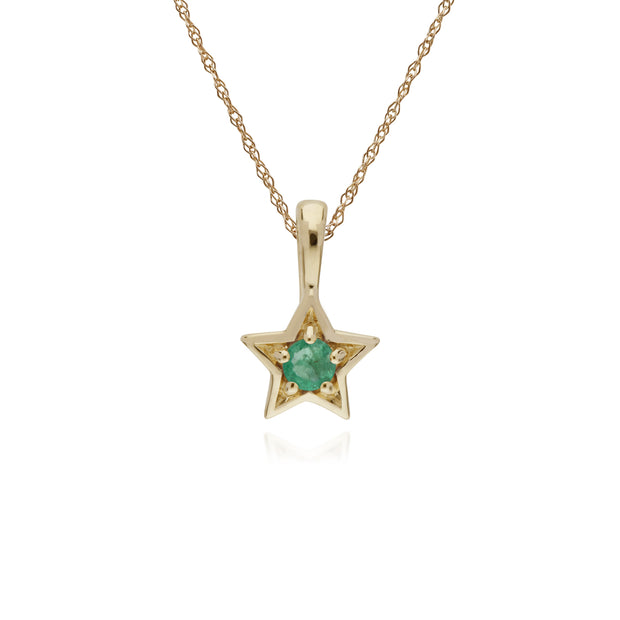 Classic Single Stone Round Emerald Star Pendant in 9ct Yellow Gold
