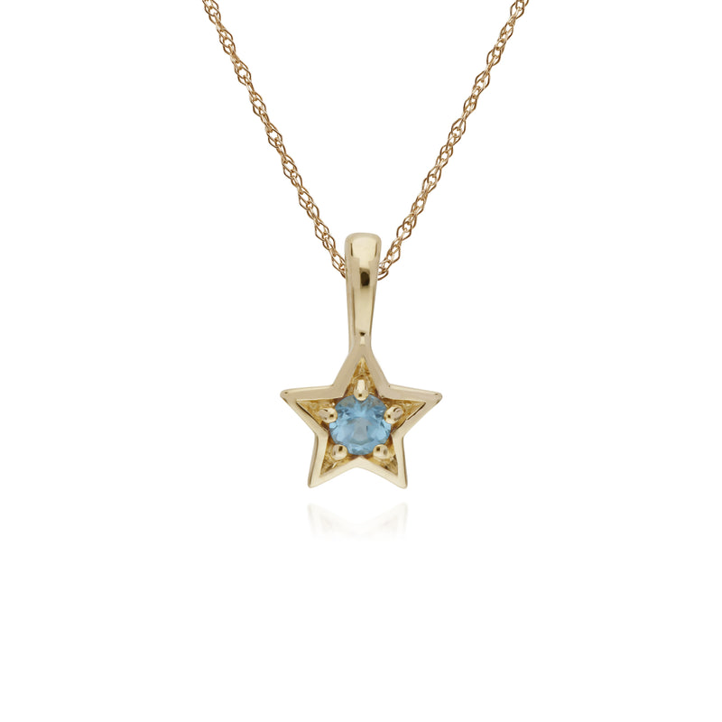 Classic Single Stone Round Blue Topaz Star Pendant in 9ct Yellow Gold