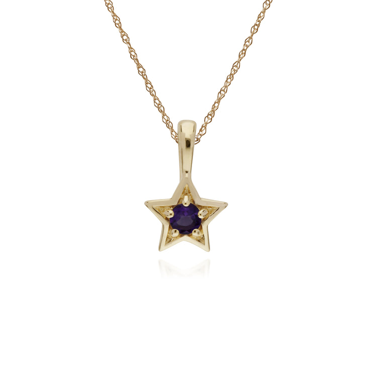 Classic Single Stone Round Amethyst Star Pendant in 9ct Yellow Gold