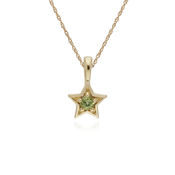 Classic Single Stone Round Peridot Star Pendant in 9ct Yellow Gold