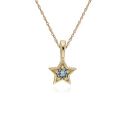 Classic Single Stone Round Aquamarine Star Pendant in 9ct Yellow Gold