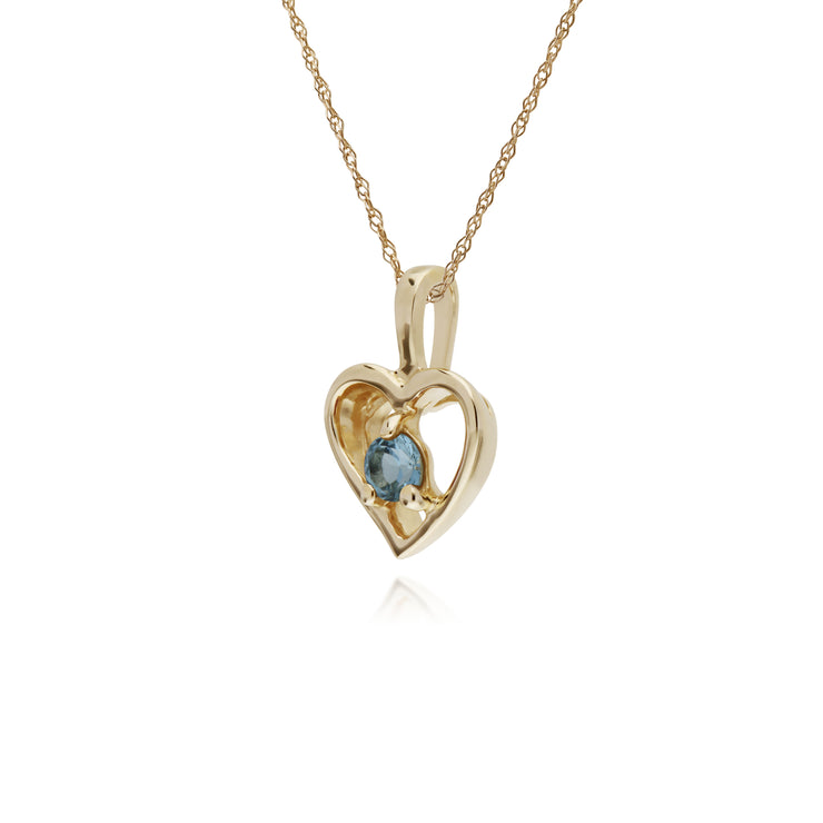 Gemondo 9ct Yellow Gold Sapphire Single Stone Heart 45cm Necklace