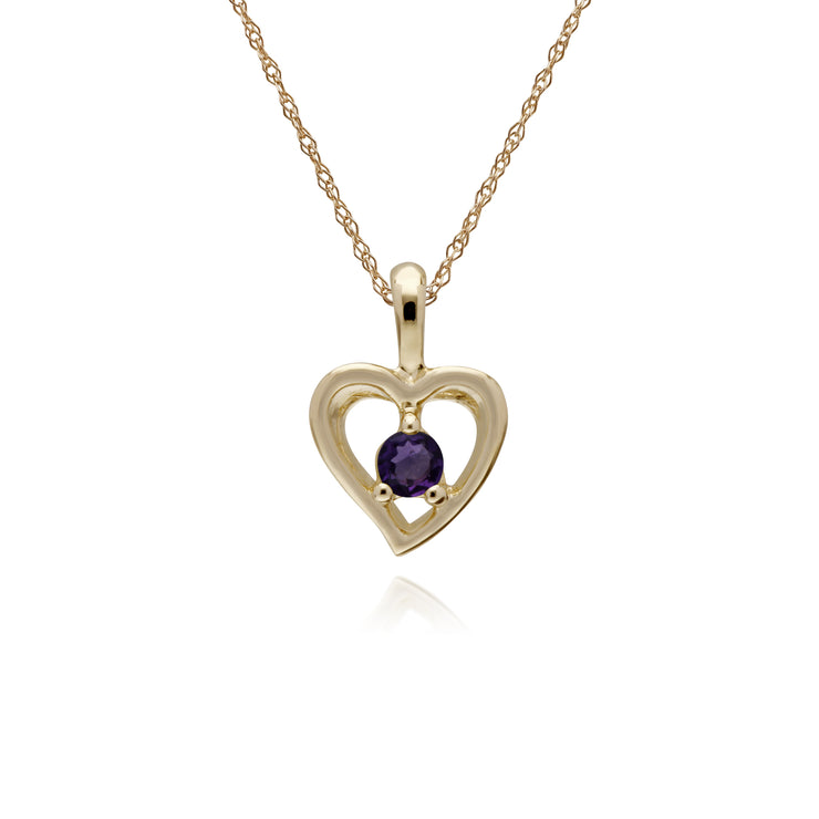 Classic Single Stone Round Amethyst Open Love Heart Pendant in 9ct Yellow Gold