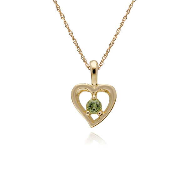 Classic Single Stone Round Peridot Open Love Heart Pendant in 9ct Yellow Gold