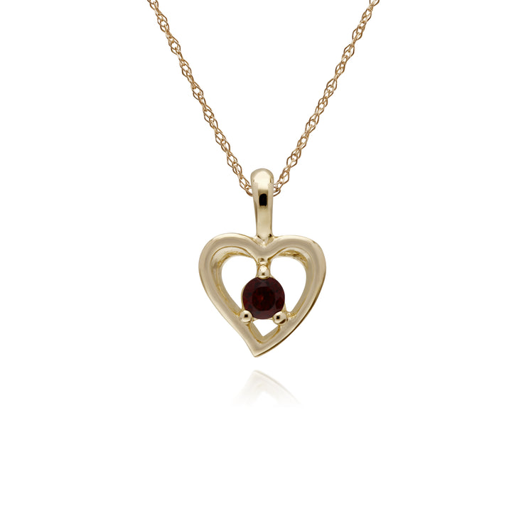 Classic Single Stone Round Garnet Open Love Heart Pendant in 9ct Yellow Gold