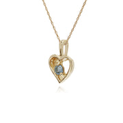 Classic Single Stone Round Aquamarine Open Love Heart Pendant in 9ct Yellow Gold