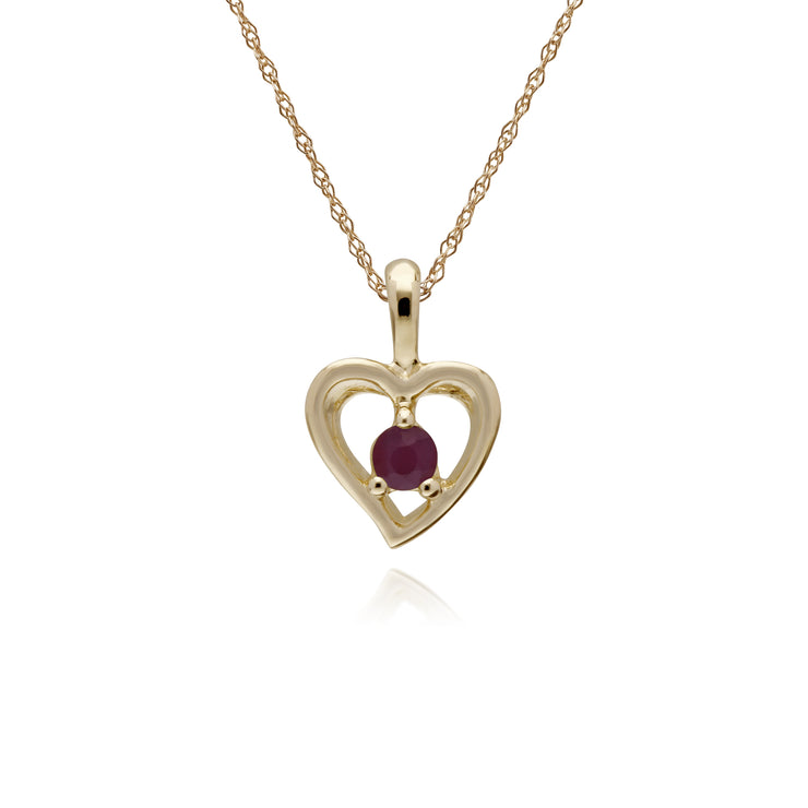 Classic Single Stone Round Ruby Open Love Heart Pendant in 9ct Yellow Gold