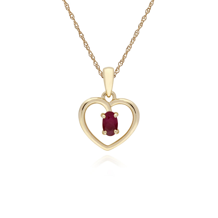 Classic Style Oval Ruby Love Heart Shaped Pendant in 9ct Yellow Gold