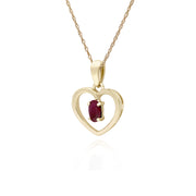 Gemondo 9ct Yellow Gold Ruby Oval Single Stone Heart Pendant on 45cm Chain