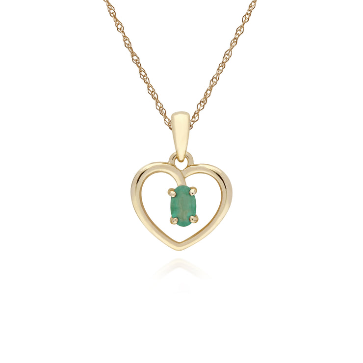Classic Style Oval Emerald Love Heart Shaped Pendant in 9ct Yellow Gold