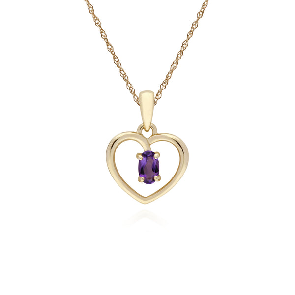Classic Amethyst Heart Pendant Necklace Image 1