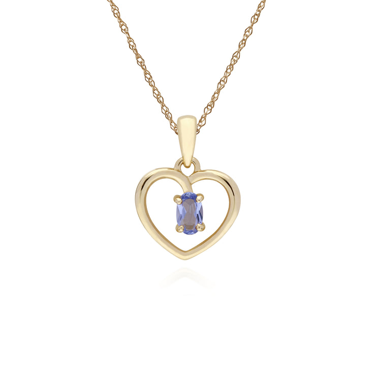 Classic Tanzanite Heart Pendant Necklace Image 1