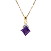 Gemondo 9ct Yellow Gold Amethyst & Diamond Square Pendant on 45cm Chain