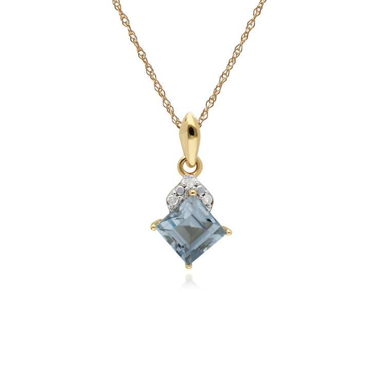 Classic Square Blue Topaz & Diamond Pendant in 9ct Yellow Gold