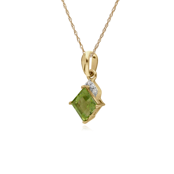 Classic Square Peridot & Diamond Pendant in 9ct Yellow Gold