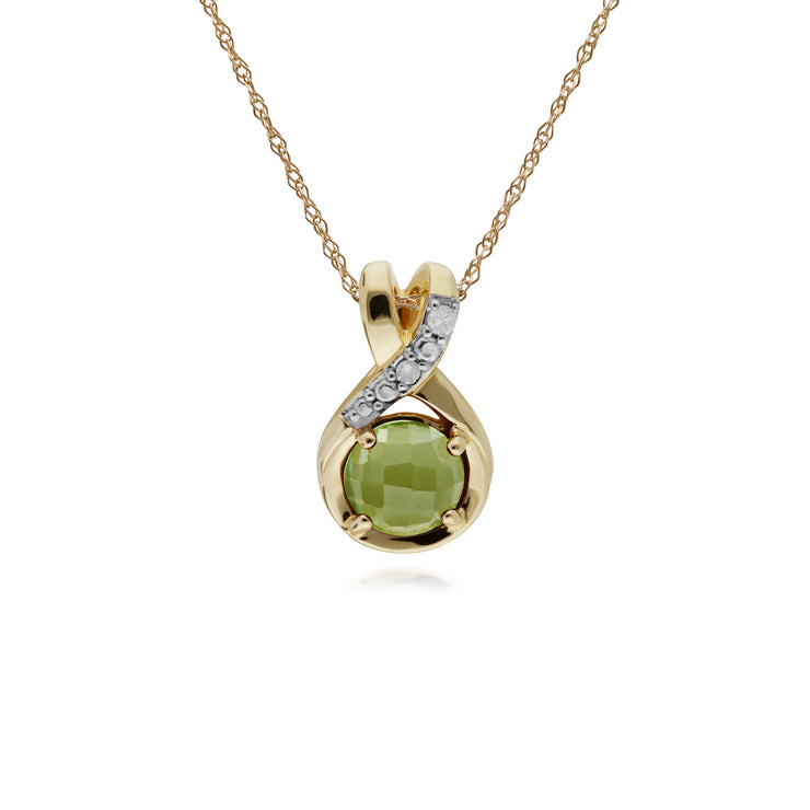 Classic Round Peridot Checkerboard & Diamond Bale Pendant in 9ct Yellow Gold