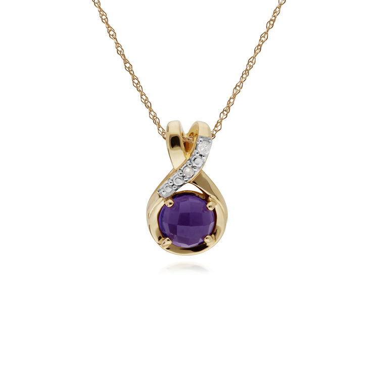 Classic Round Amethyst Checkerboard & Diamond Bale Pendant in 9ct Yellow Gold