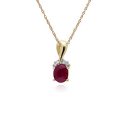 Classic Oval Ruby & Diamond Twisted Bale Pendant in 9ct Yellow Gold
