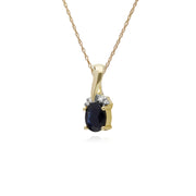 Classic Oval Sapphire & Diamond Twisted Bale Pendant in 9ct Yellow Gold