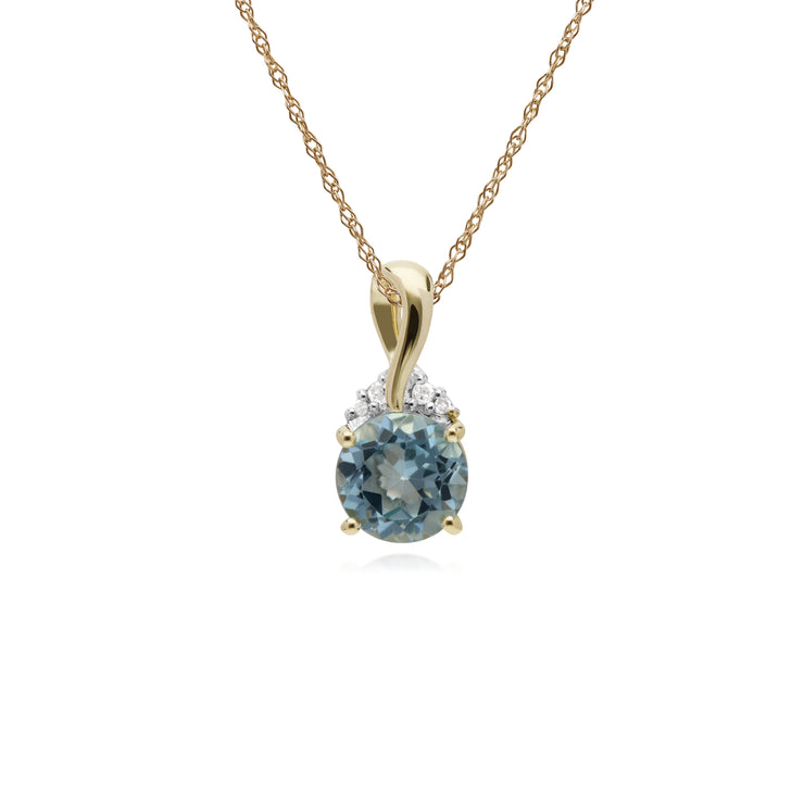 Classic Round Blue Topaz & Diamond Twisted Bale Pendant in 9ct Yellow Gold