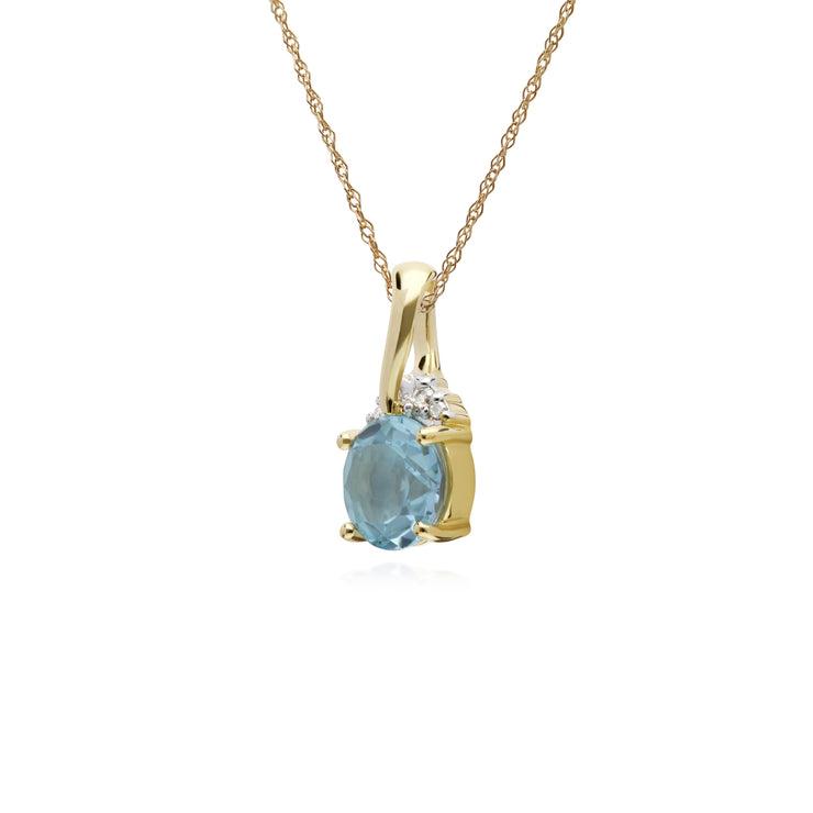 Gemondo 9ct Yellow Gold Round Blue Topaz & Diamond Kiss Pendant on 45cm Chain