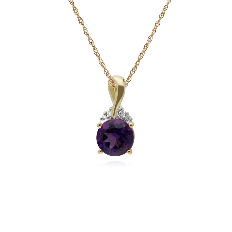Classic Round Amethyst & Diamond Twisted Bale Pendant in 9ct Yellow Gold