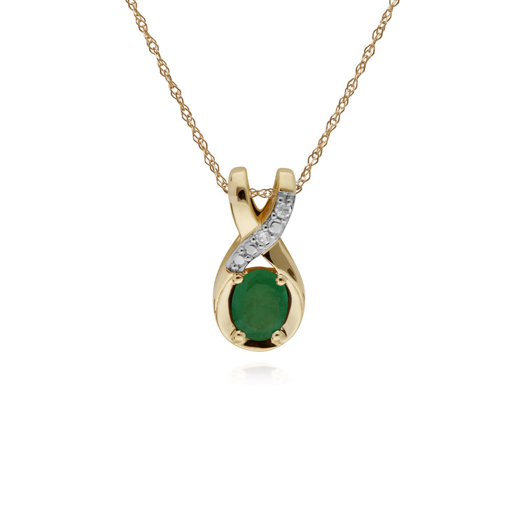 Classic Oval Emerald & Diamond Twisted Bale Pendant in 9ct Yellow Gold