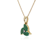 Floral Marquise Emerald & Diamond Cluster Pendant in 9ct Yellow Gold