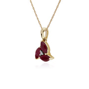 Floral Marquise Ruby & Diamond Cluster Pendant in 9ct Yellow Gold