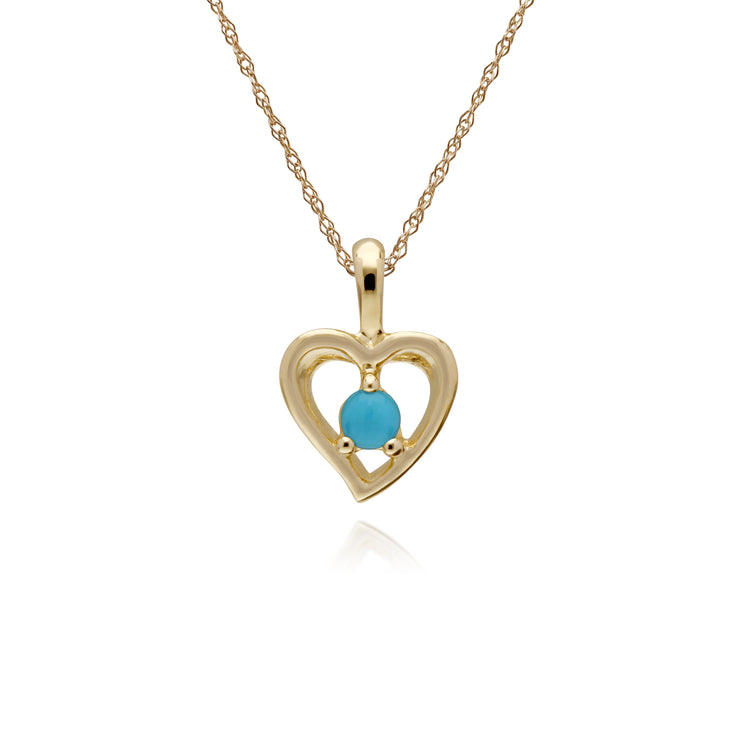 Classic Turquoise Heart Stud Earrings & Necklace Set Image 3