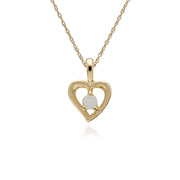 Classic Single Stone Round Opal Open Love Heart Pendant in 9ct Yellow Gold