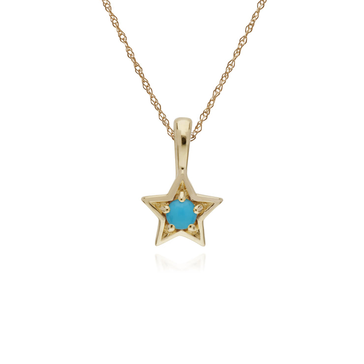Classic Single Stone Round Turquoise Star Pendant in 9ct Yellow Gold