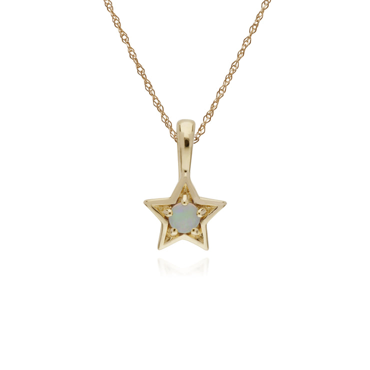 Classic Single Stone Round Opal Star Pendant in 9ct Yellow Gold