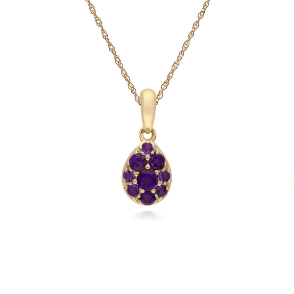 Cluster Round Amethyst Pear Shaped Pendant & Chain in 9ct Yellow Gold