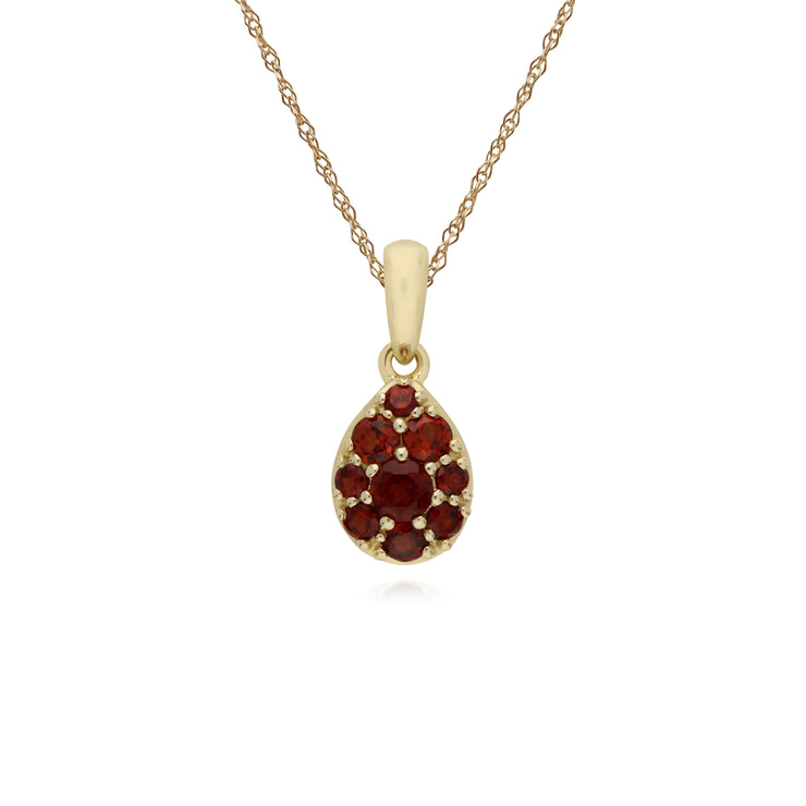 Cluster Round Garnet Pear Shaped Pendant & Chain in 9ct Yellow Gold