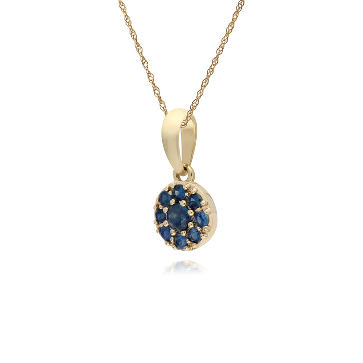 Cluster Round Sapphire Classic Pendant and Chain in 9ct Yellow Gold