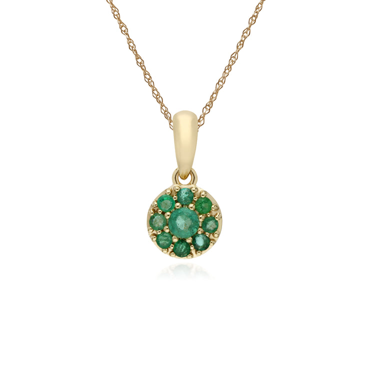 Cluster Round Emerald Classic Pendant and Chain in 9ct Yellow Gold