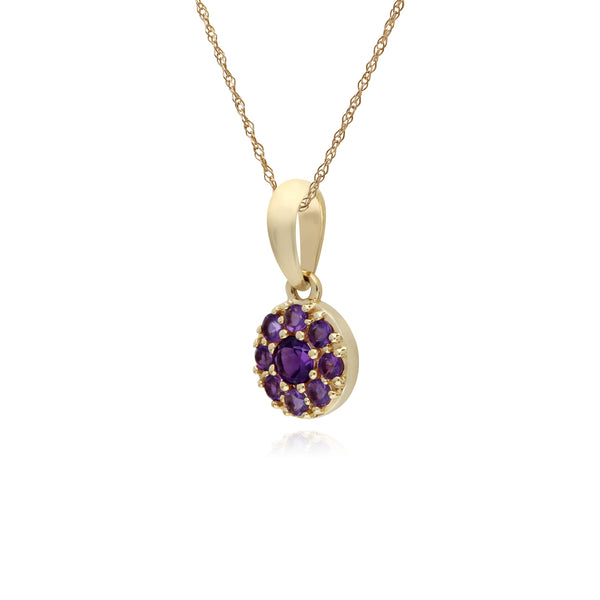 Cluster Round Amethyst Classic Pendant and Chain in 9ct Yellow Gold