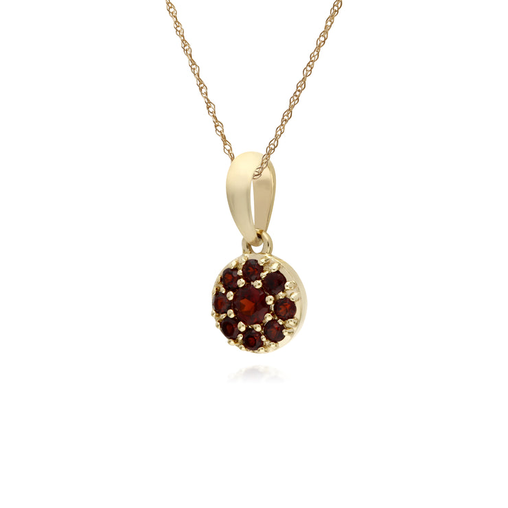 Cluster Round Garnet Classic Pendant and Chain in 9ct Yellow Gold