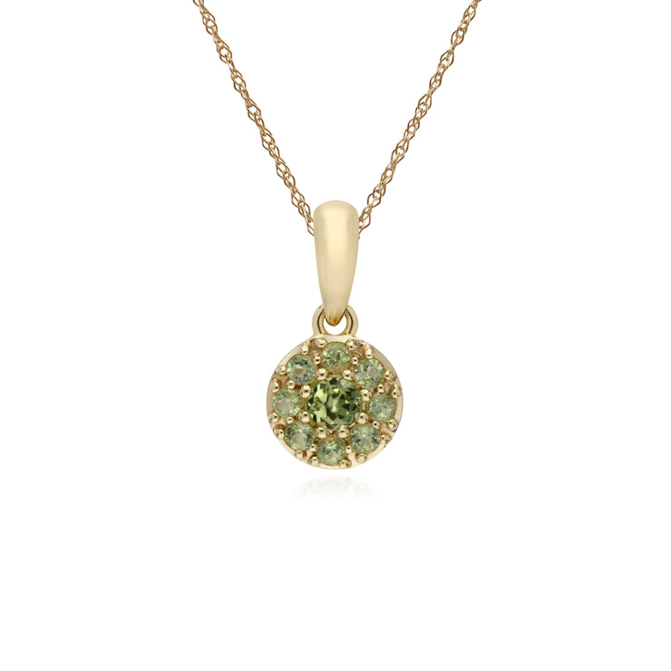 Cluster Round Peridot Classic Pendant and Chain in 9ct Yellow Gold