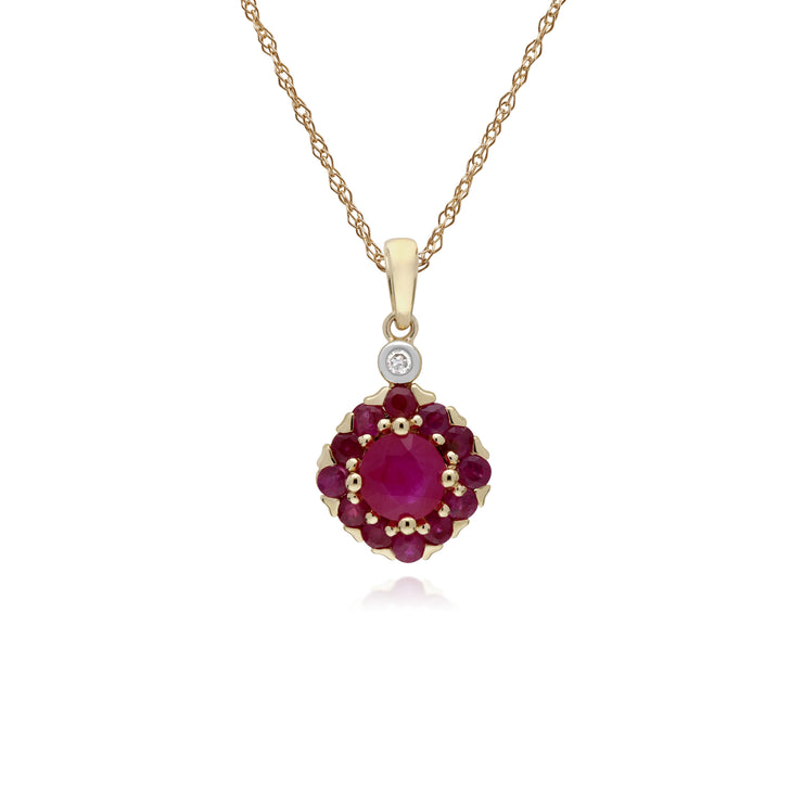Cluster Round Ruby & Diamond Pendant in 9ct Yellow Gold