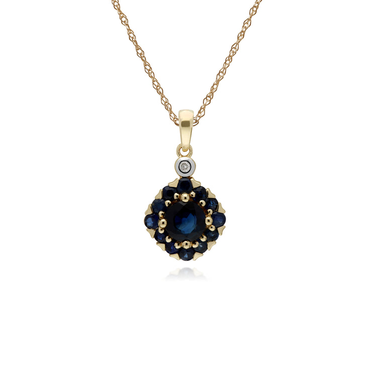 Cluster Round Sapphire & Diamond Pendant in 9ct Yellow Gold