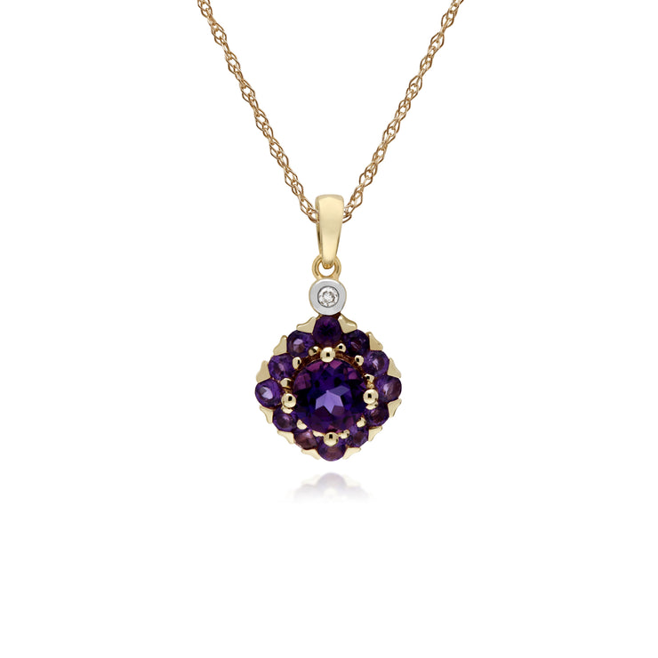 Cluster Round Amethyst & Diamond Pendant in 9ct Yellow Gold