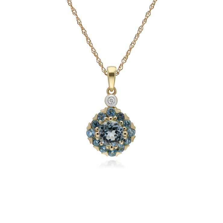 9ct Yellow Gold Blue Topaz & Diamond Square Cluster Pendant on 45cm Chain