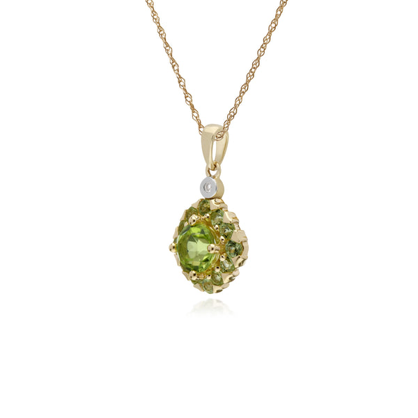 Cluster Round Peridot & Diamond Pendant in 9ct Yellow Gold