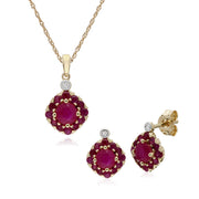 Classic Ruby & Diamond Cluster Stud Earrings & Pendant Set Image 1