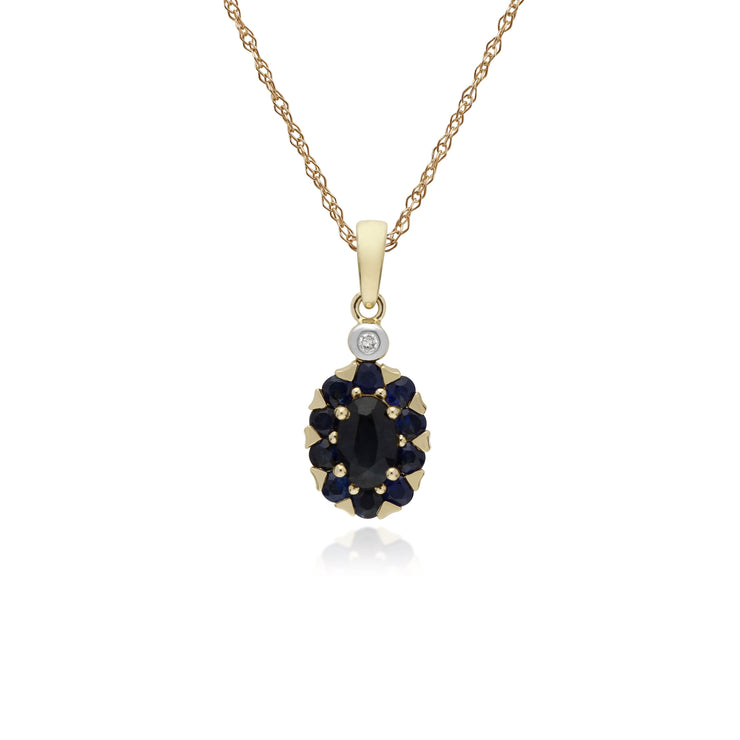 Cluster Round Sapphire & Diamond Oval Pendant in 9ct Yellow Gold
